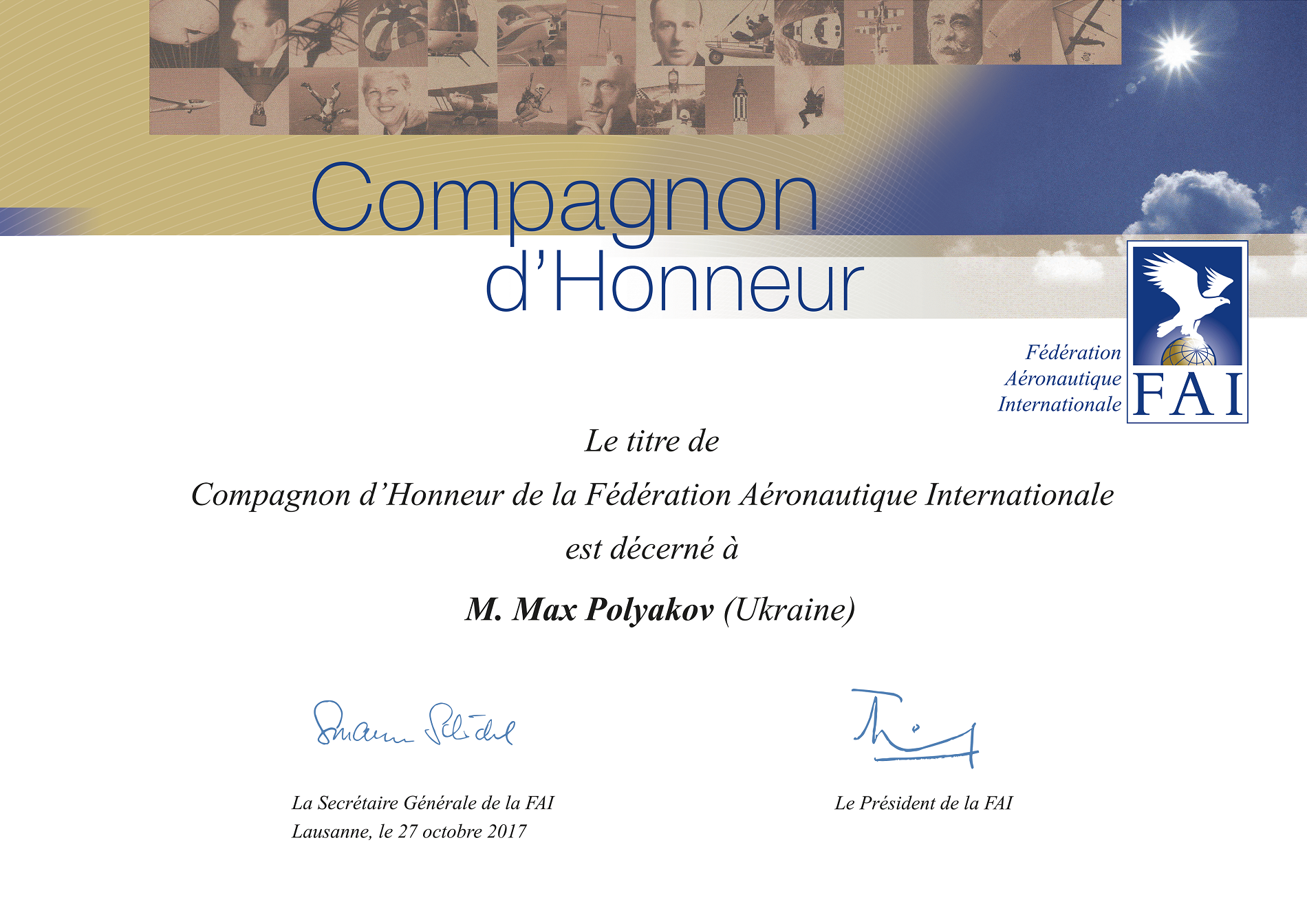 FAI Companion of Honour Diploma